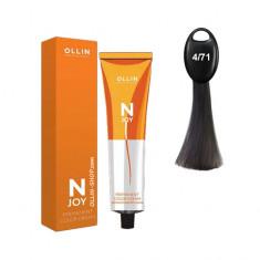 Ollin N-JOY 4/71 шатен коричнево-пепельный перманентная крем-краска для волос 100мл OLLIN PROFESSIONAL
