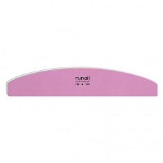 ruNail, Пилка для искусственных ногтей, розовая, полукруглая, 180/180